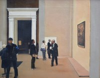 315 - Roy Tidmarsh, Viewing at the Royal Academy, London, oil.