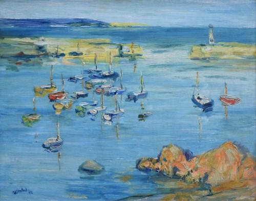 331 - J.L. Isherwood, Boats at Mevagissey, oil.