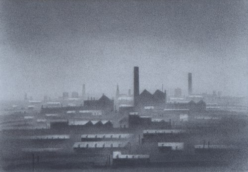 375 - Trevor Grimshaw, Northern Landscape, graphite.