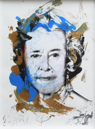 Lot 384 - Mr. Brainwash, Queen with Blue and Green, mixed media.