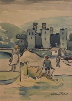 401 - William Turner, The Sandcastle, Conway, watercolour and pencil.