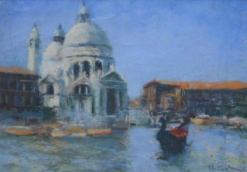 Lot 402-Marc Grimshaw, Santa Maria della Salute, Venice, pastel.