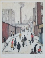 449 - After L.S. Lowry, Street Scene, signed print.