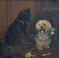 473 - Frederick Lewis, 19th century, Portrait of a doberman and a sheepdog, oil on canvas.