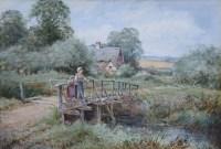 493 - H.J. Sylvester Stannard, Odell Bridge, Bedfordshire, watercolour.