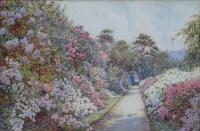 506 - E. Arthur Rowe, The Long Walk, Villa Carlotta, Lake Como, watercolour.