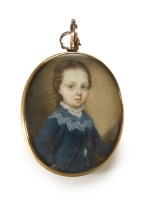 516 - Portrait miniature of a boy dated 1757.
