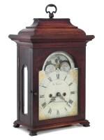 523 - George III Mahogany Bracket clock, the painted