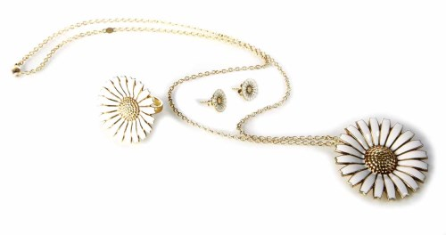 309 - George Jensen Silver gilt white enamelled suite of flower head pendant, ring and stud earrings.