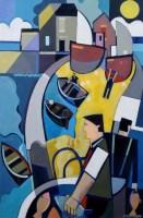 368 - Peter Stanaway, Seahouses, Northumberland, acrylic.