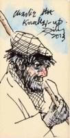 457 - Harold Riley, Charlie the Knocker-Up, mixed media drawing.