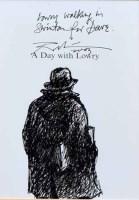 459 - Harold Riley, Lowry walking in Swinton, ink drawing.