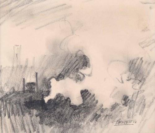 469 - Trevor Grimshaw, Steam, graphite drawing.