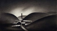 470 - Trevor Grimshaw, Landscape with Curves and Rectangles, charcoal.