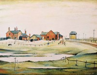 510 - After L.S. Lowry, Landscape with Farm Buildings, signed print.