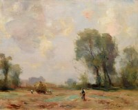 537 - William Miller Frazer, Haymaking in the Fens, oil.