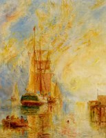 541 - William Bond, Boat in Harbour, Sunset, oil.