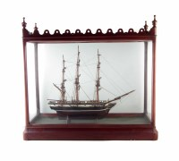 53 - Cased glass ship, fitted in a good Victorian