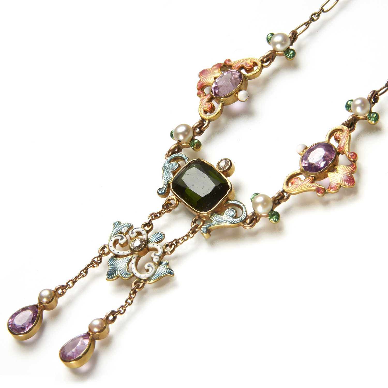 Lot 193 - A late 19th century enamel and vari gem necklace, in the manner of Giuliano