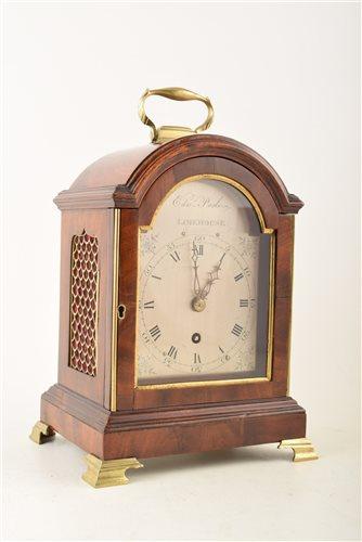 Lot 345-Mahogany mantel clock by Edwin Poole, Limehouse, London