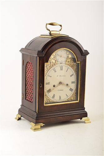 Lot 334-A late 19th century mahogany bracket clock by Kenneth Maclenan, London