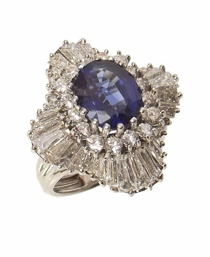 Lot 66 - Sapphire and Diamond large fancy cluster platinum ring