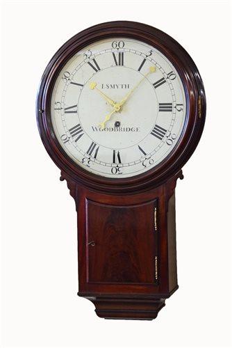 Lot 354-A rare early 19th century mahogany tavern clock by Israel Smyth of Woodbridge, Suffolk