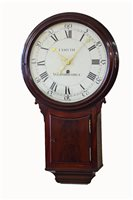Lot 354-A rare early 19th century mahogany tavern clock by Israel Smyth of Woodbridge, Suffolk