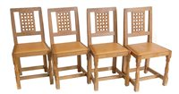 "Lot 456-Robert ""Mouseman"" Thompson four single dining chairs."