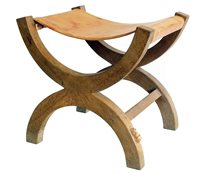 "451 - Robert ""Mouseman"" Thompson ""X"" framed dressing table stool."