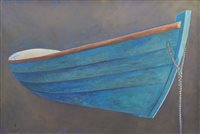 "497 - James Dodds, ""Blue Dory Study"", oil and catalogue (2)."