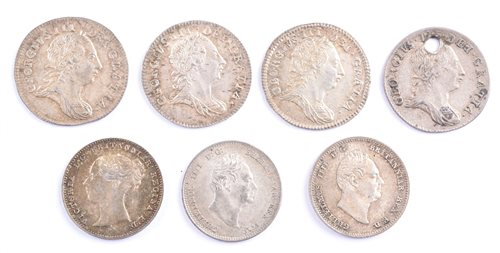 9a - Quantity of silver threepence pieces to include George III, William IV and Victoria.
