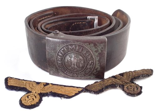Lot 35-German WW2 Third Reich belt together with two patches (brought back by James Hickie Pioneer Corps during the liberation of Guernsey)