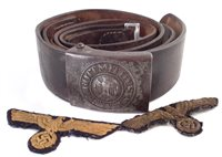 35 - German WW2 Third Reich belt together with two patches (brought back by James Hickie Pioneer Corps during the liberation of Guernsey)