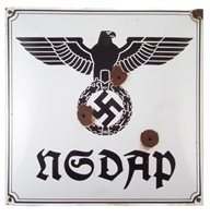 36 - German WW2 Third Reich Nazi Party Headquarters enamel sign, 50cm square.