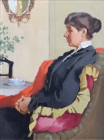 529 - Pierre Adolphe Valette, Portrait of a seated lady, oil.