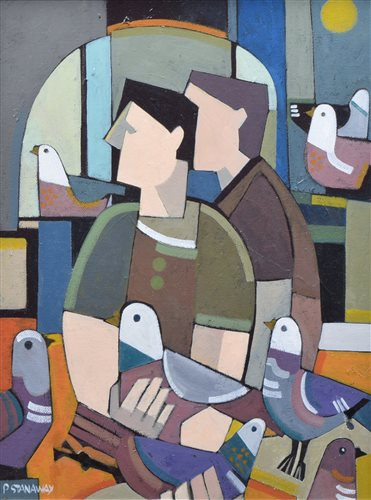 "Lot 562 - Peter Stanaway, ""The Pigeon Loft"", acrylic."
