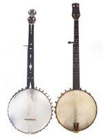 19 - Savana five string banjo and a fretless banjo