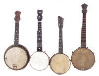 25 - Two Banjurines and two ukulele / banjos or banjoleles,