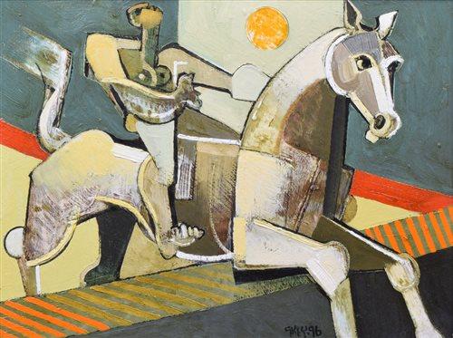 "556 - Geoffrey Key, ""Moon Jump"", oil."