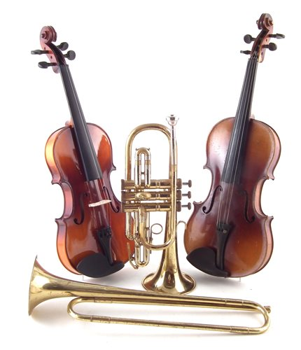 Lot 12-Two cased violins and a cased trumpet and one other.