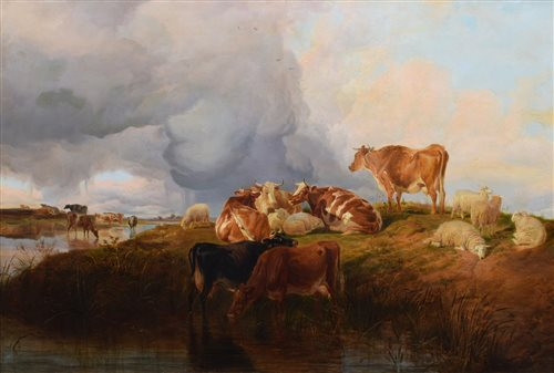 603 - Thomas Sidney Cooper, Cattle and sheep in a landscape, oil.