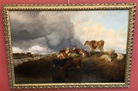 Lot 603-Thomas Sidney Cooper, Cattle and sheep in a landscape, oil.