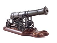 1 - 19th century bronze signal cannon with wood plinth