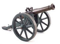 17 - 19th century bronze model cannon on field gun carriage