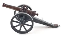 Lot 17-19th century bronze model cannon on field gun carriage