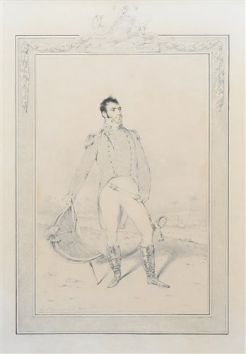 Lot 640-George Chinnery, Portrait of a soldier, pencil and watercolour.