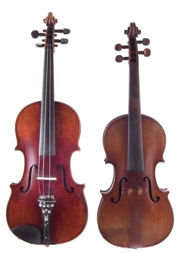 Lot 8-Conservatory violin and one other with two cases and three bows.