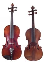 8 - Conservatory violin and one other with two cases and three bows.