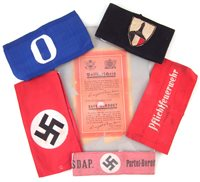 25 - Five Third Reich German WW2 Arm Bands and a Safe Conduct Letter